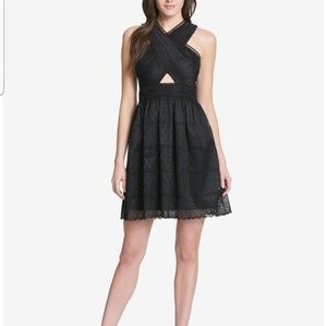 Guess Cutout Lace Halter Dress